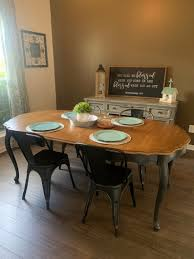 Sold Dining Room Kitchen Table Extendable Wood Black Base Etsy
