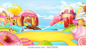 candyland board background. Unique Board Glade In A Candy Land Sweet Landscape 3d Vector Panorama With Candyland Board Background Y