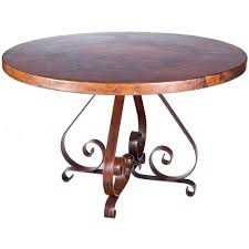 copper dining table pierre iron dining table with 54 round hammered copper top