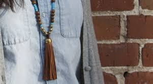make a beaded leather tassel necklace