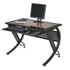 black metal sepia glass computer desk with keyboard tray