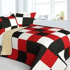 Modern Red Black White Patchwork Teen Boy Bedding Full/Queen Quilt ... & Modern Red Black White Patchwork Teen Boy Bedding Full/Queen Quilt Set  Bedspread Adamdwight.com