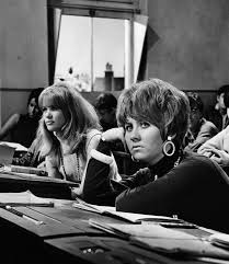 best classroom images school history and childhood actress judy geeson left and scottish singer lulu marie macdonald mclaughlin lawrie during the making of james clavell s film to sir love