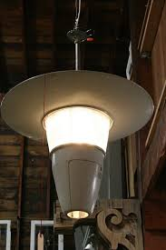 ge atomic street light repurposed into a vintage mid century pendant hanging light