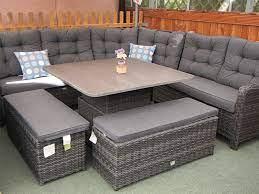 larne stone grey rattan corner sofa set