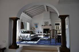 Stunning Curved Top With Square Interior Columns Added Wooden Sloped  Ceiling Over Living Room Sets In Vintage House Decors Designs