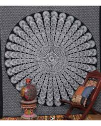 black and white indian mandala tapestry wall hanging bedspread home decor