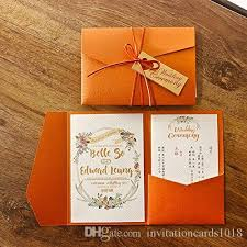 New Arrival Elegant 3 Folds Orange Wedding Invitations Cards For