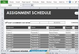 Excel Assignments Free Assignment Schedule Tracker For Excel