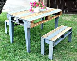 Recycled pallets outdoor furniture Coffee Outdoor Pallet Table Recycled Pallet Table With Two Benches Outdoor Furniture Made From Pallets Using Patio Outdoor Pallet Table Furniture Design Outdoor Pallet Table View In Gallery Pallet Bar Table And Pallet
