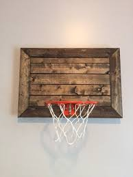 pallet designed basketball goal diy wall decor mini pallet size great for rustic man cave basement office or childs sports room awesome simple office decor men