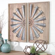 wood metal wall art panel set of 2 windmill rustic farmhouse home accent decor 1 of 4free