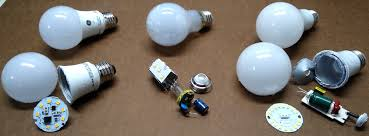 left to right teardown of ge 7 500 hour basic ge 15 000 hour clic and 25 000 hour cree a19 led bulbs