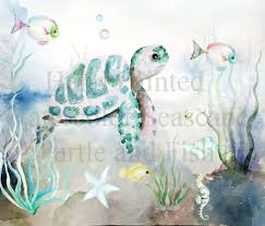 Hand Bemalt Aquarell Schildkröte Seascape Meer Clip Art Stern Etsy