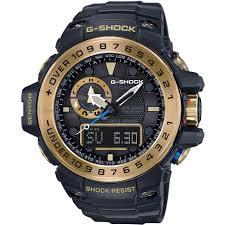 """radio controlled watches watch shop comâ""""¢ mens casio g shock premium gulfmaster black x gold alarm chronograph radio controlled watch gwn"""