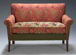salon settee in melody rustic by mary lynn o'shea (upholstered