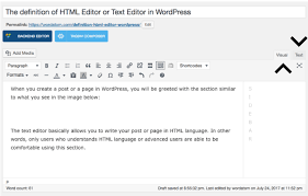 The definition of HTML Editor or Text Editor in WordPress