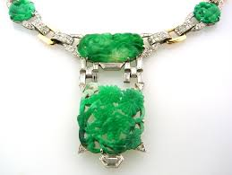 art deco caldwell jade diamond platinum gold necklace for
