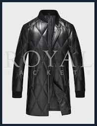 mens sheepskin long leather jacket