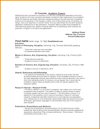 Academic Cv Examples Letter Format Template