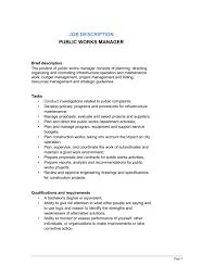 Project Manager Job Description Public Works Manager Job Description Template Word Pdf