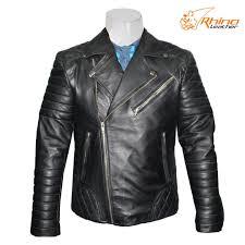 black multiple pocket leather jacket for men