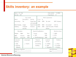 human resource planning ppt video online   human resource planning skills inventory an example