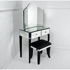 Small Modern Mirrored Vanity Table Pier One With Double Drawer And