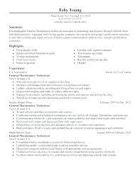 Maintenance Technician Resume Sample Sample Maintenance Management