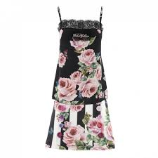 Dolce Gabbana Stripe And Rose Print Top And Skirt Set
