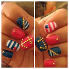 17 Gorgeous Blue Nails Art | Nautical nails, Sailor nails and ...