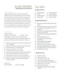 Key Skills Resume Administrative Assistant Resume Template For Office Assistant Joefitnessstore Com