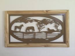 metal wall art plasma cut horses tan silhouette home decor cedar frame