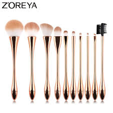 Zoreya Brand <b>10pcs</b> Rose Gold <b>Luxury Makeup</b> Brushes Set High ...