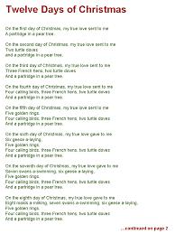 Twelve Days of Christmas lyrics page one