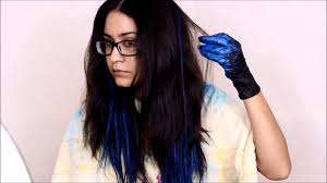 How To Blue Ombre Hair W Garnier Color Styler No Bleach Youtube How To Dye My Hair Black With Blue Highlights