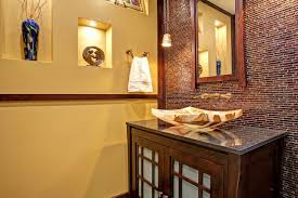 Accent Wall Bathroom Bathroom Brick Look Asian Inspired Powder Room Accent Wall