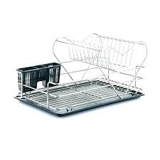 wall mounted dish drying rack drain drainer steel two tier commercial d dry
