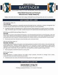 Professional Resume Example Bartender Resume No Experience