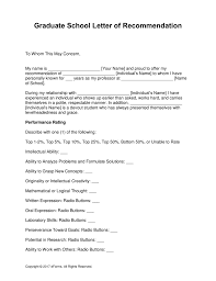 Free Letters Of Recommendation Template Free Graduate School Letter Of Recommendation Template With 10