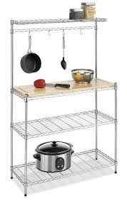 Kitchen Rack Amazoncom Whitmor Supreme Kitchen Bakers Rack Wood Chrome