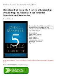 John Maxwell 5 Levels Of Leadership Pdf Download The 5 Levels Of Leadership Proven Steps To Maximize