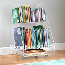 Rolling Acrylic bookcase 2 tiers,Clear perspex living room storage rack  bookshelf with casters