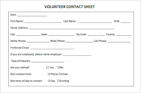 contact spreadsheet template volunteer sheet instathreds co