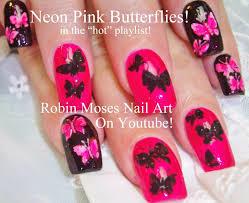 Pink and Black Butterfly Nail Art | robin moses nail art videos ...