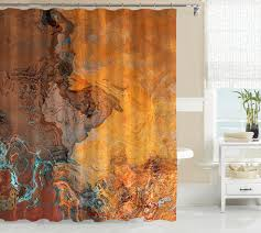 abstract art shower curtain southwest shower curtain in rust and turquoise tucson