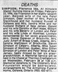Obituary for Florence Ida SIMPSON - Newspapers.com