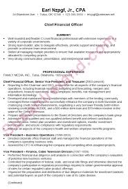 chronological resume example chief financial officer pg1 cfo cover letter