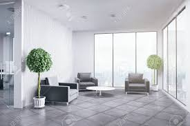 Image Desk New Office Interior With Decorative Plants And City View Business Concept 3d Rendering Stock 123rfcom New Office Interior With Decorative Plants And City View Business