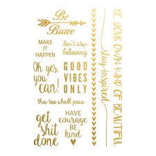 Gold Quotes Stunning Inspirational Quotes Set Gold Ink Tattoo
